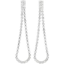 Wandering Silver Crystal Long Pendant Earrings WGW19892