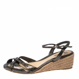 Gucci Metallic Grey Micro Guccissima Patent Leather Penelope Espadrille Wedges Size 38.5
