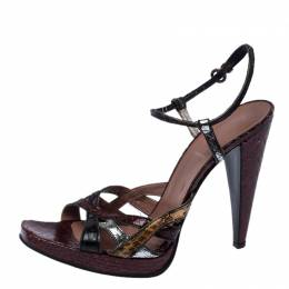 Miu Miu Multicolor Python Strappy Open Toe Ankle Strap Sandals Size 39.5 235161