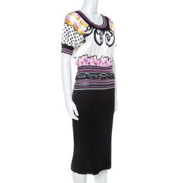 Roberto Cavalli Class Multicolor Printed Bodice Knit Detail Sheath Dress M 237981