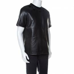 Givenchy Black Star Embroidered Leather Crew Neck T-Shirt M 238324