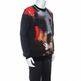 Givenchy Black Abstract Doberman Print Washed Out Cotton Sweatshirt S