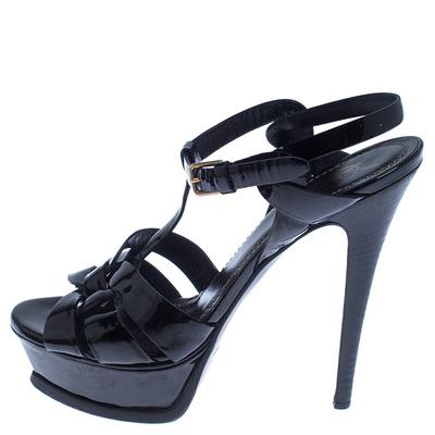 Saint Laurent Paris Black Patent Leather Tribute Sandals Size 37.5 238255 - 1
