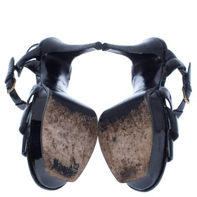 Saint Laurent Paris Black Patent Leather Tribute Sandals Size 37.5 238255 - 5