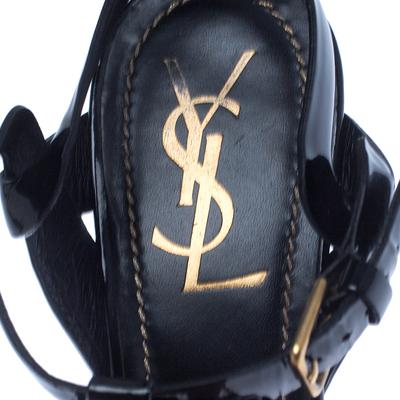 Saint Laurent Paris Black Patent Leather Tribute Sandals Size 37.5 238255 - 6
