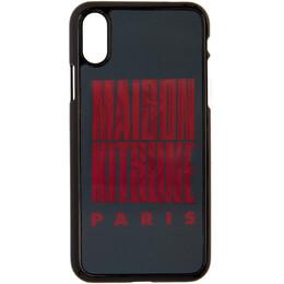 Maison Kitsune Black Holo Wavy MK iPhone X Case DU05603AP0005