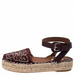 Valentino Burgundy Embellished Suede and Leather Ankle Strap Espadrilles Size 39