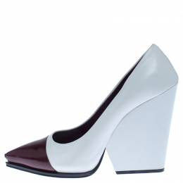 Celine White/Burgundy Leather Cap Toe Wedge Pumps Size 39 238181