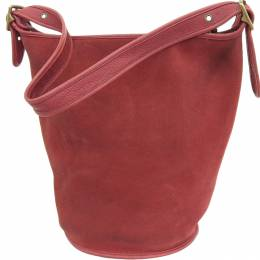 Coach Red Suede And Leather Duffle Sack Reversable Bag
