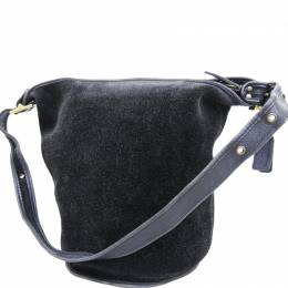 Coach Black Suede And Leather Duffle Sack Reversable Bag
