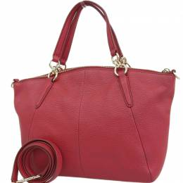 Coach Red Pebble Leather Small Kelsey Satchel Bag