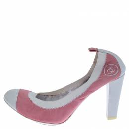 Chanel Pink Suede and White Leather Cap Toe Scrunch Pumps Size 39 238585