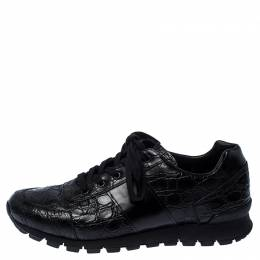 Prada Black Crocodile Leather Sneakers Size 43 238126