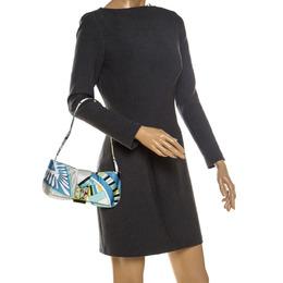 Emilio Pucci Multicolor Printed Satin Magnet Closure Pochette Bag