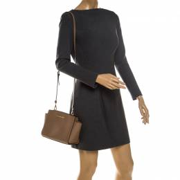 MICHAEL Michael Kors Brown Leather Medium Selma Crossbody Bag 234729