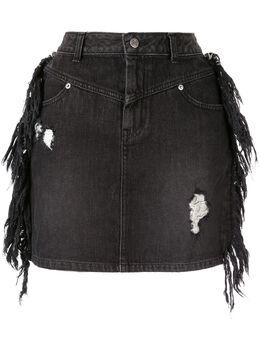 Sjyp джинсовая юбка мини с бахромой PW1J9NSC019W