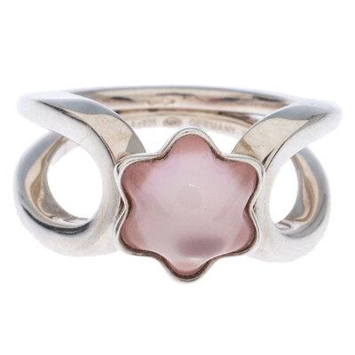 Montblanc Cabochon de Montblanc Rose Quartz Silver Ring Size 54 237451 - 1