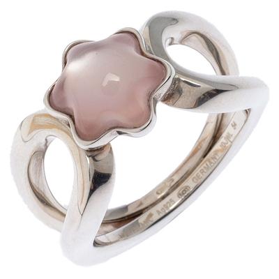 Montblanc Cabochon de Montblanc Rose Quartz Silver Ring Size 54 237451 - 2