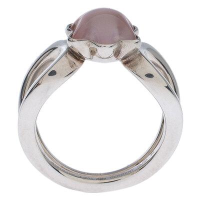 Montblanc Cabochon de Montblanc Rose Quartz Silver Ring Size 54 237451 - 3
