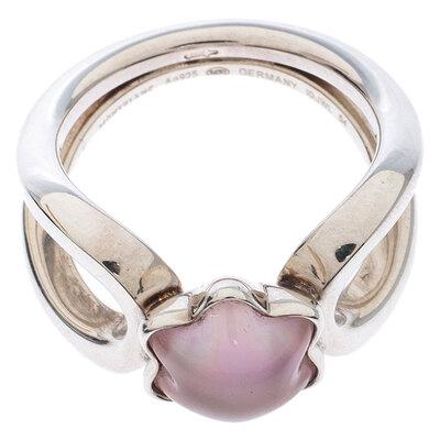 Montblanc Cabochon de Montblanc Rose Quartz Silver Ring Size 54 237451 - 4