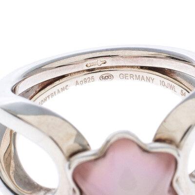 Montblanc Cabochon de Montblanc Rose Quartz Silver Ring Size 54 237451 - 5