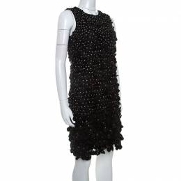 Emporio Armani Black Silk Blend Applique Detail Sleeveless Dress S 238270