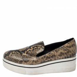 Stella McCartney Beige Faux Python Platform Slip On Sneakers Size 39 236155