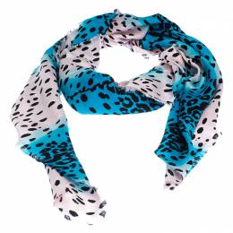 Dior Blue and Pink Leopard Spot Silk Blend Jacquard Scarf 239022