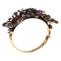 Alexander McQueen Multicolor Crystal Gold Tone Cuff Bracelet M 237722