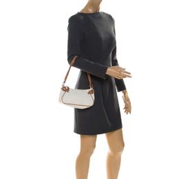 Salvatore Ferragamo Off White/Brown Gancini Embossed Leather Shoulder Bag 237476