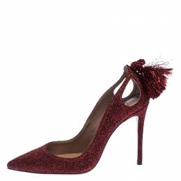 Aquazzura Red Shimmery Fabric Forever Marilyn Pointed Toe Pumps Size 37.5 239858