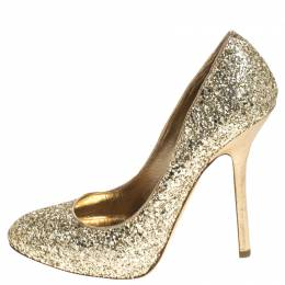 Miu Miu Metallic Gold Coarse Glitter Platform Pumps Size 38.5 237984