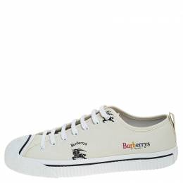 Burberry White Canvas Kingly Sneakers Size 46 238991
