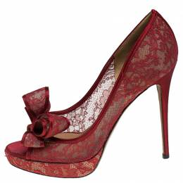 Valentino Red Lace Bow Peep Toe Platform Pumps Size 41 239836