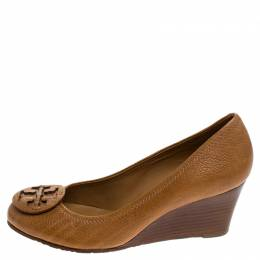 Tory Burch Brown Grained Leather Wedge Pumps Size 36