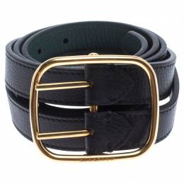Burberry Black/Green Leather Lynton Double Strap Belt 85CM 239192