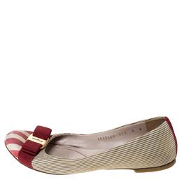 Salvatore Ferragamo Multicolor Fabric Varina Bow Ballet Flats Size 38.5 237236