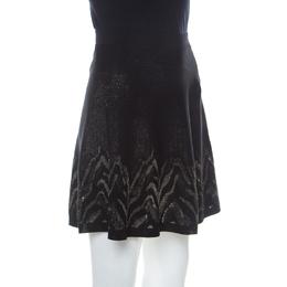 Roberto Cavalli Black and Gold Knit Mini A-line Skirt M 238019
