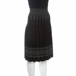 Alexander McQueen Black Wool Blend Pleated Skirt XS