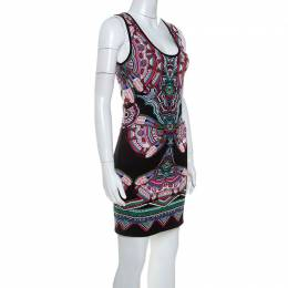 Roberto Cavalli Multicolor Lurex Jacquard Knit Sleeveless Dress S 240277