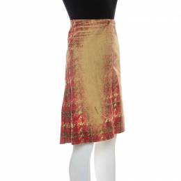 Roberto Cavalli Multicolor Faded Houndstooth Print Denim Skirt S 237968