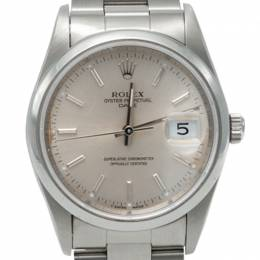 Rolex Silver Oyster Date Crystal Stainless Steel Watch 34MM