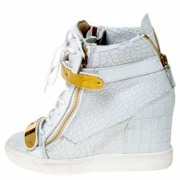 Giuseppe Zanotti Design White Croc Embossed Leather High Top Wedge Sneakers Size 38