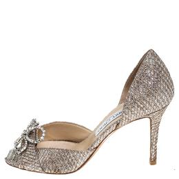 Jimmy Choo Metallic Gold Lamé Glitter Fabric Crystal Bow Embellished Peep Toe Pumps