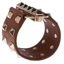 Valentino Tan Brown Leather Rockstud Wide Bracelet 237447