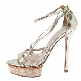 Le Silla Metallic Gold Python Embossed Leather Strappy Platform Sandals Size 36 232958