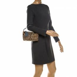 Coach Beige/Blue Canvas and Snakeskin Embossed Leather Tassel Zip Pochette Bag 234665