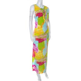 Escada Multicolor Printed Silk Side Slit Detail Maxi Dress XL 234931