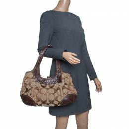 Coach Beige/Brown Signature Canvas and Leather Kiss Lock Shoulder Bag 144758