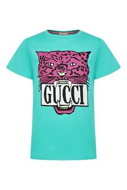 Бирюзовая футболка с фиолетовым рисунком Gucci Kids 1256161930